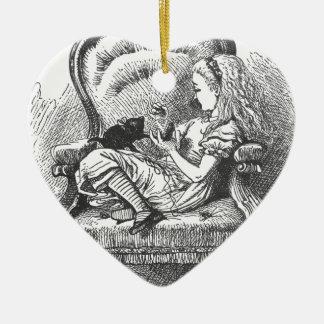 Alice et son chaton ornement cœur en céramique