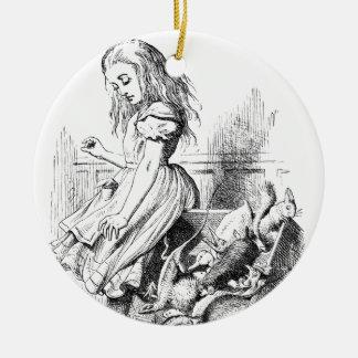 Alice et une boîte d'animaux ornement rond en céramique