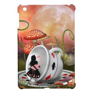 Alice, flamant et tasse de thé surréalistes étuis iPad mini