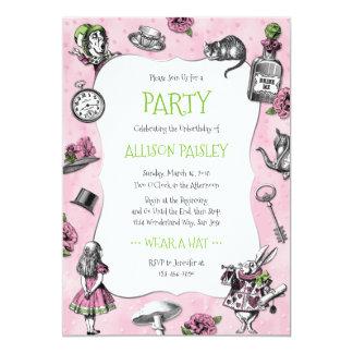 Alice lunatique dans le rose et le vert du pays carton d'invitation  12,7 cm x 17,78 cm