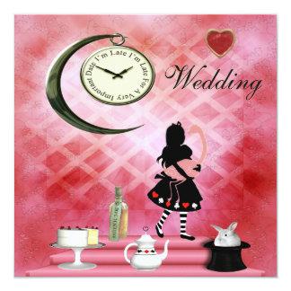 Alice lunatique et mariage rose de flamant carton d'invitation  13,33 cm