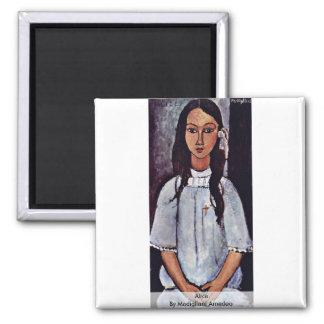 Alice par Modigliani Amedeo Magnet Carré