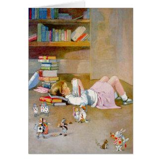 Alice prend un voyage au pays des merveilles cartes de vœux