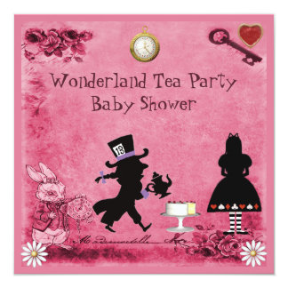 Alice rose dans le baby shower de thé du pays des carton d'invitation  13,33 cm