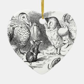 Alice, souris et oiseaux ornement cœur en céramique