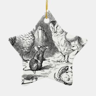 Alice, souris et oiseaux ornement étoile en céramique
