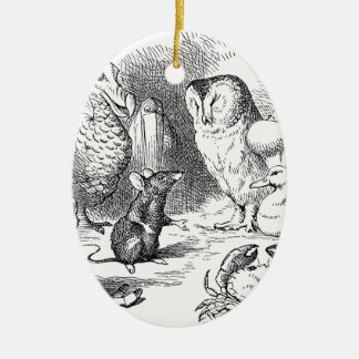 Alice, souris et oiseaux ornement ovale en céramique