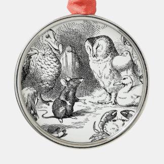 Alice, souris et oiseaux ornement rond argenté