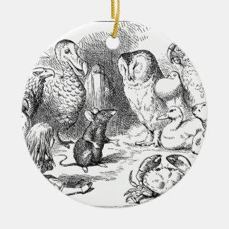 Alice, souris et oiseaux ornement rond en céramique