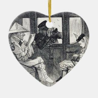 Alice sur le train ornement cœur en céramique