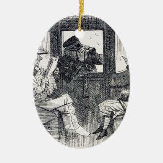 Alice sur le train ornement ovale en céramique