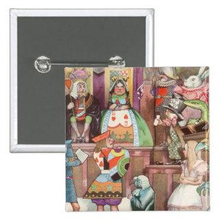 Alice vintage au pays des merveilles, reine des badge carré 5 cm