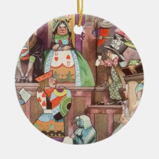 Alice vintage au pays des merveilles, reine des ornement rond en céramique