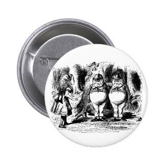 Alice vintage au pays des merveilles, Tweedledum Badge Rond 5 Cm