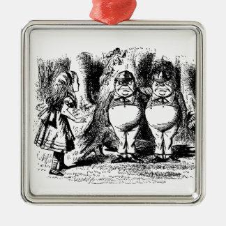 Alice vintage au pays des merveilles, Tweedledum Ornement Carré Argenté