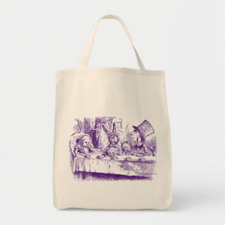 Alice vintage au thé du pays des merveilles sac en toile épicerie