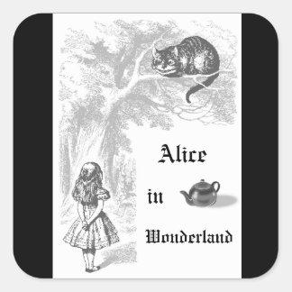 Alice vintage dans l'autocollant orienté de partie sticker carré