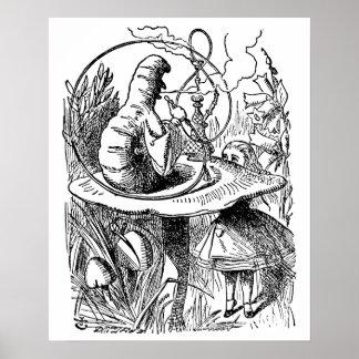 Alice vintage dans le narguilé Caterpillar du pays Poster