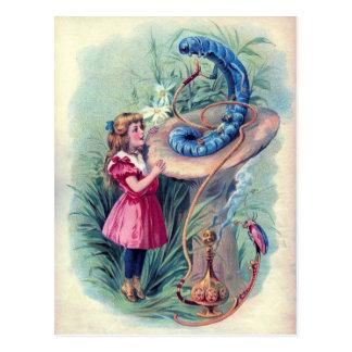 Alice vintage dans l'illustration du pays des cartes postales