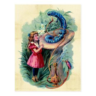 Alice vintage en carte postale du pays des