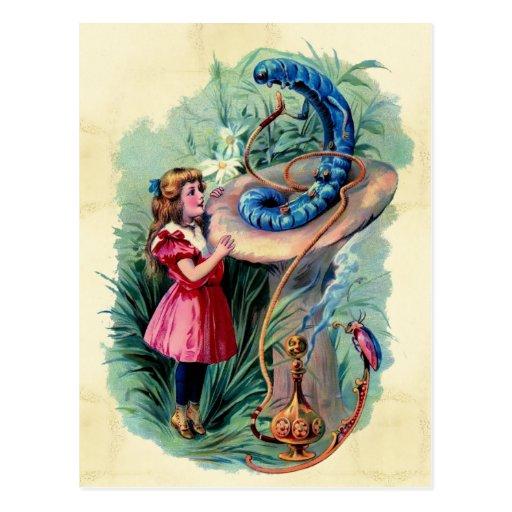 Alice vintage en carte postale du pays des merveil