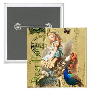 Alice vintage en collage du pays des merveilles badge carré 5 cm