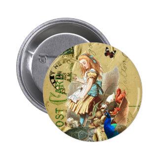 Alice vintage en collage du pays des merveilles badge rond 5 cm