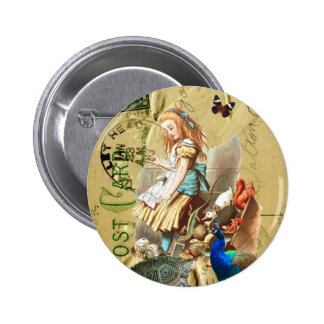 Alice vintage en collage du pays des merveilles badges