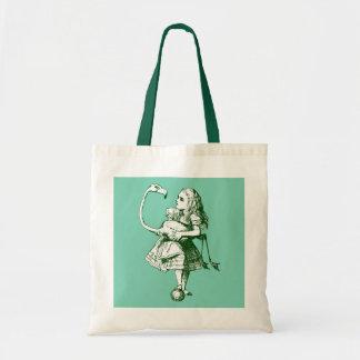 Alice vintage et flamant au pays des merveilles sacs en toile
