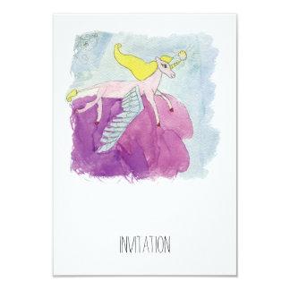 Alicorn s'est envolé le cheval rose de poney carton d'invitation 8,89 cm x 12,70 cm