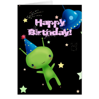 Alien d'espace de joyeux anniversaire carte de vœux