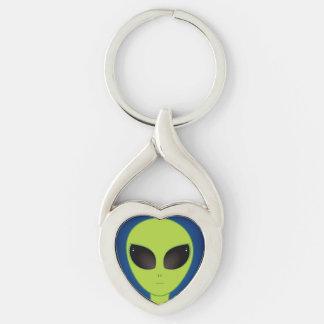Alien Porte-clé Argenté Cœur Torsadé