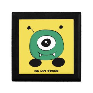 Alien vert drôle mignon petite boîte à bijoux carrée