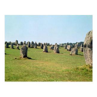 Alignement des pierres debout, mégalithique carte postale