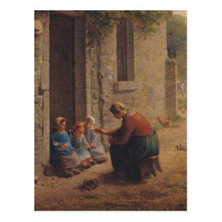 Alimentation des jeunes, 1850 carte postale