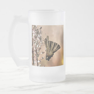 Alimentation rare de machaon frosted glass beer mug