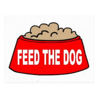 Alimentation rouge de bol d'aliments pour chiens cartes postales