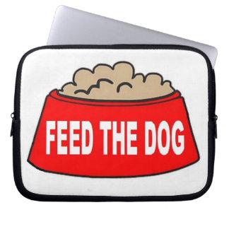 Alimentation rouge de bol d'aliments pour chiens d housse ordinateur portable