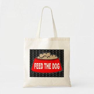 Alimentation rouge de bol d'aliments pour chiens sac de toile