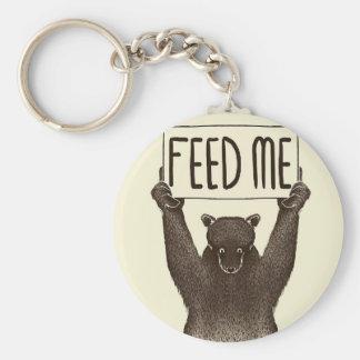 Alimentez-moi et dites-moi que je suis joli ours porte-clé rond
