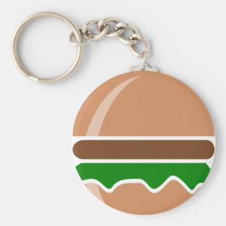 aliments de préparation rapide d'hamburger un porte-clé rond