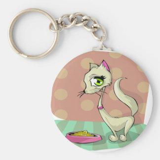 aliments pour chats mangeant le gourmet de petit porte-clé rond