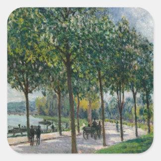 Allée des arbres de châtaigne - Alfred Sisley Sticker Carré