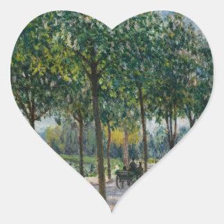 Allée des arbres de châtaigne - Alfred Sisley Sticker Cœur