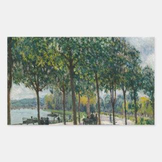 Allée des arbres de châtaigne - Alfred Sisley Sticker Rectangulaire