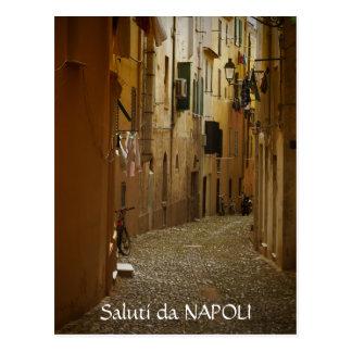 Allée foncée carte postale des textes à Naples,