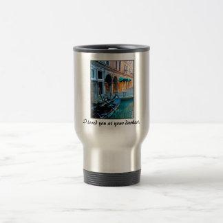 Allée spéciale de Venise avec la citation d'amour Mug De Voyage En Acier Inoxydable