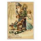 Allemand vintage Père Noël et carte de Noël d'ange