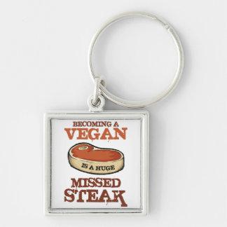 Aller bien à un végétalien est un bifteck manqué porte-clé carré argenté