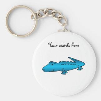 Alligator bleu brillant porte-clé rond